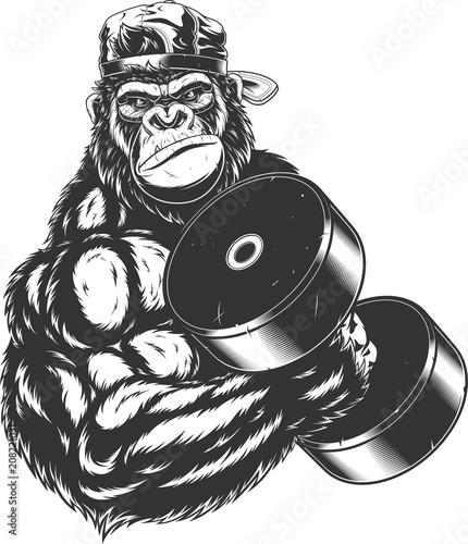 Fototapeta  Terrible gorilla athlete