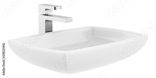 ceramic bathroom sink isolated on white background Canvas Print
