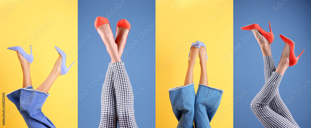 Fototapety, obrazy: Young women in stylish shoes on color background