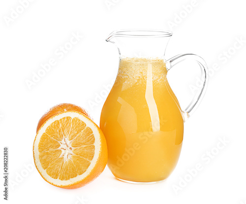 Foto op Canvas Sap Glass pitcher with delicious citrus juice and fresh fruit on white background
