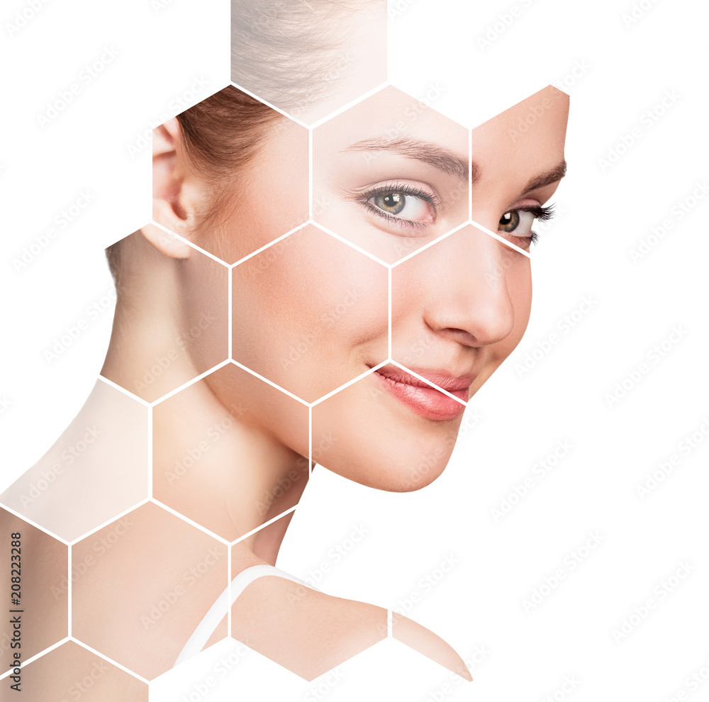 Fototapeta Beautiful female face in honeycombs. Spa concept.