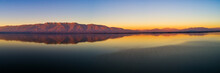 Aerial View Of The Artificial Lake Kerkini And Her Mountain Range At Sunset At The North Greece