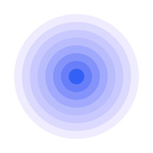 Blue Concentric Rings. Epicenter Icon. Simple Flat Vector Illustration.