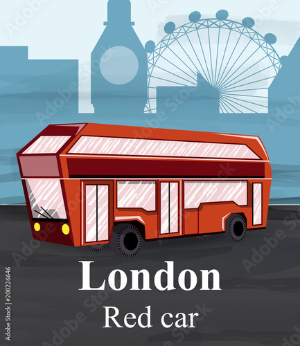 Платно London red bus Vector. Travel card flat style illustrations