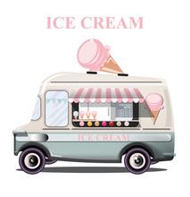 Ice Cream Stand Vehicle Vector...