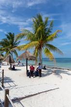 Cancun, Mariachi Plays Music On The Beach