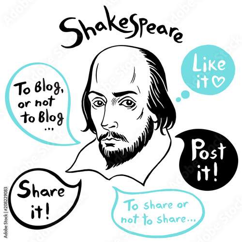 Photo Shakespeare portrait with speech bubbles and social media funny citations