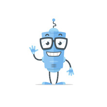 Happy Blue Robot Mascot Cartoon Illustration In Flat Style