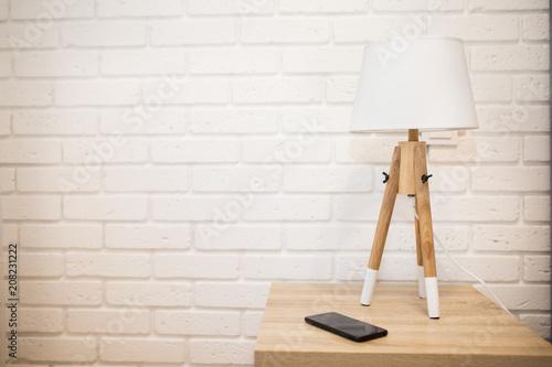 White minimalist lamp standing in the light loft room Wallpaper Mural