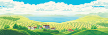 Rural Panoramic Landscape With...