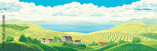 Rural panoramic landscape with a beautiful view of distant fields, wight village, gardens and plantations with a large water lake or sea Wallpaper Mural