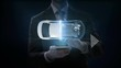 Businessman click smart phone, mobile, Electronic car, ion battery echo car. Charging car battery. Battery level check, future car. side view. 4k movie.