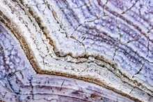 Agate Stone Texture With Cracks, Surface Of Natural Unpolished Mineral With Striped Pattern In Blue Tint, Macro Shot, Abstract Background, Selective Focus