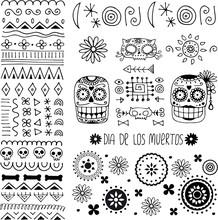 Dia De Los Muertos Doodle Elements
