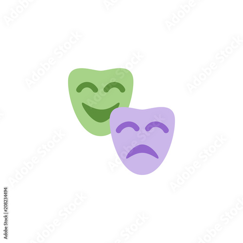 Drama Masks Satire Theatre Happy Sad Smile Two Face Masks Vector
