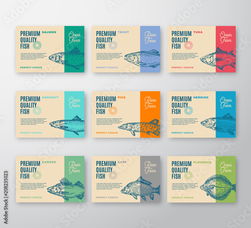 Premium Quality Fish Labels Collection  Abstract Vector Packaging