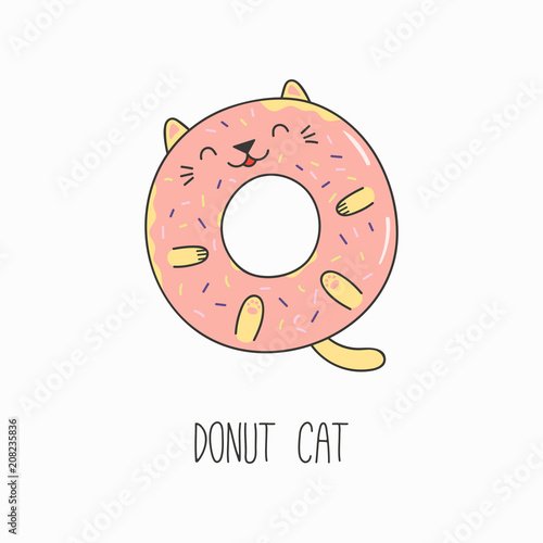 Printed kitchen splashbacks Illustrations Hand drawn vector illustration of a kawaii funny donut with cat ears. Isolated objects on white background. Line drawing. Design concept for cat cafe menu, children print.