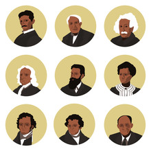 A Set Of Flat Icons Of The Great Physics Of The World