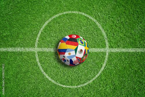 Fussballrasen Mit Fussball Und Teamflaggen Buy This Stock