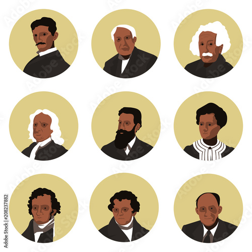 a set of flat icons of the great physics of the world Canvas Print
