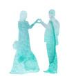 tender watercolor silhouette of the bride and groom, wedding