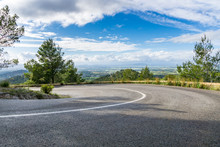Mallorca, Road Turn In Mountainous Landscape With Clear Views Over Nature Fields