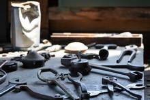 Vintage Tools In The Garage Workshop.
