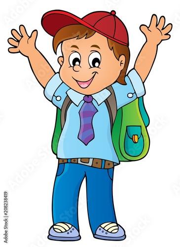 Deurstickers Voor kinderen Happy pupil boy theme image 1