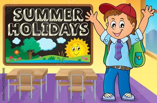 Deurstickers Voor kinderen Happy pupil boy theme image 2