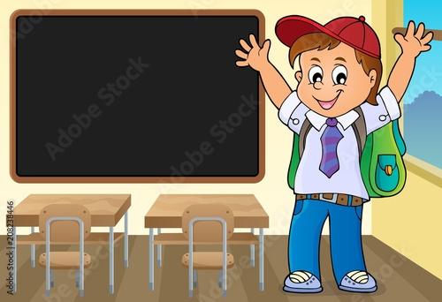 Deurstickers Voor kinderen Happy pupil boy theme image 3