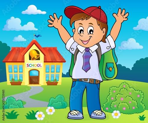 Deurstickers Voor kinderen Happy pupil boy theme image 4