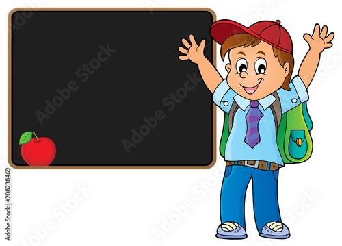 Deurstickers Voor kinderen Happy pupil boy theme image 5