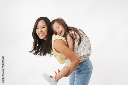 Asian woman mother having fun with her little girl child daughter Canvas-taulu