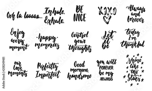 Fotografía Hand drawn quotes lettering different phrases set about love and life isolated on the white background