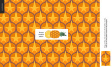Food Patterns - Fruit, Pineapple Texture - A Seamless Pattern Of Pineapple Rind Peel Full Of Yellow Orange Spines On The Orange Background, Pineapple Image In The Center