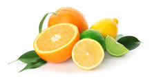 Tasty Citrus Fruits On White B...