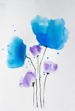 Blue Wildflowers Watercolor Pa...