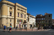 Wide square in the center of Perpignan city, Languedoc-Roussillon, France