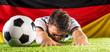 canvas print picture Fussball Spieler am boden (faul,jubel,schwalbe,konzept)