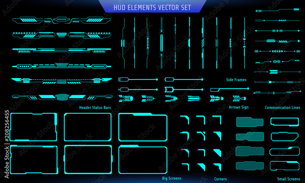 Fototapety, obrazy: HUD Green Futuristic Elements Basic Commnication Concept Set. Abtract Header Status Bar, Side Frames, Screen, Arrow Sign Vector And Illustration.