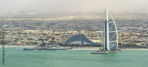 DUBAI - NOVEMBER 2016: Luxury beach of Dubai and Burj Al Arab фототапет