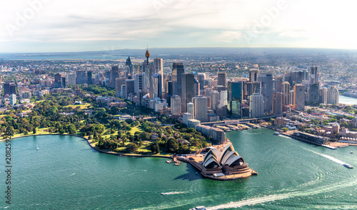 Aerial view of Sydney Harbor and Downtown Skyline, Australia Wallpaper Mural
