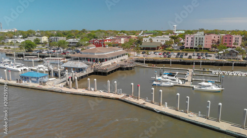 AMELIA ISLAND, FL - APRIL 1, 2018: Coastline of Fernandina Beach, aerial view Canvas Print