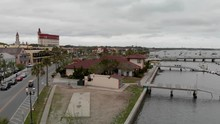 St Augustine Riverfront Aerial View, Florida On A Cloudy Day
