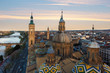 A beautiful view of Zaragoza, in Spain, from one of the towers of the Pilar Basilica near to Ebro river. A huge cathedral near to the river is the most viewed monument in Zaragoza