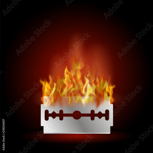 Traditional Double Edge Razor Blade on Fire. Tool for Haircut and Shave. Stainless Steel Sheving Equipment.
