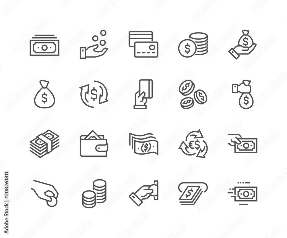 Fototapety, obrazy: Simple Set of Money Related Vector Line Icons. Contains such Icons as Wallet, ATM, Bundle of Money, Hand with a Coin and more. Editable Stroke. 48x48 Pixel Perfect.