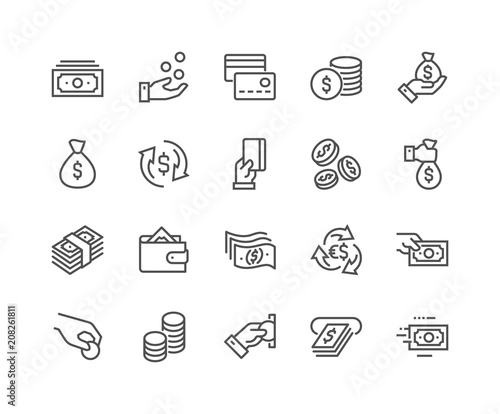 Simple Set of Money Related Vector Line Icons. Contains such Icons as Wallet, ATM, Bundle of Money, Hand with a Coin and more. Editable Stroke. 48x48 Pixel Perfect. Fototapete
