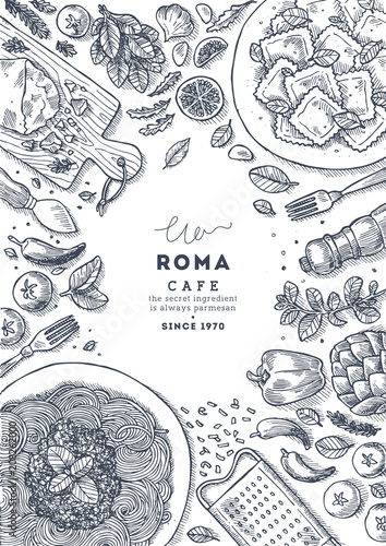 Foto  Italian pasta top view illustration