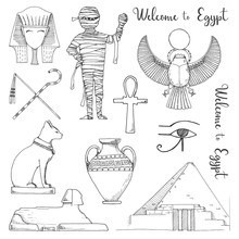 Set Of Elements Of Egyptian Culture. Vector Illustration In Sketch Style.